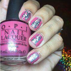 """Playing around with some nail foil  . Happy late Mother's Day  . I am holding 'My address is """"Hollywood""""' from @opi_products . I also used 'Daddy's credit card' from #spoiled by @wetnwildbeauty to line it the foil. And like always top it with my only  #hkgirltopcoat . #nailartaddicted #polishlover #galeriaofnailart #polishaddicted #nailartmani #notd #nailswow  #nailsswag #feature_nails #polishlicious #nailsbysuge #scra2ch #showmynails #glistenandglow1 #nailartlover #didmynails #nailartlover…"""