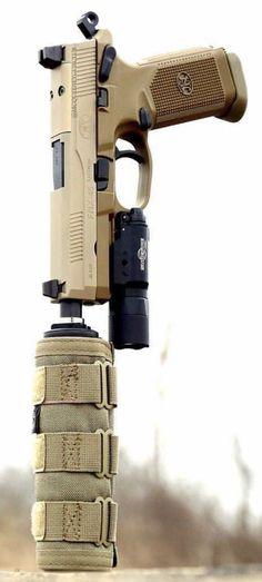 Suppressed FNX Desert Tan Pistal Firearem Handgun @aegisgears