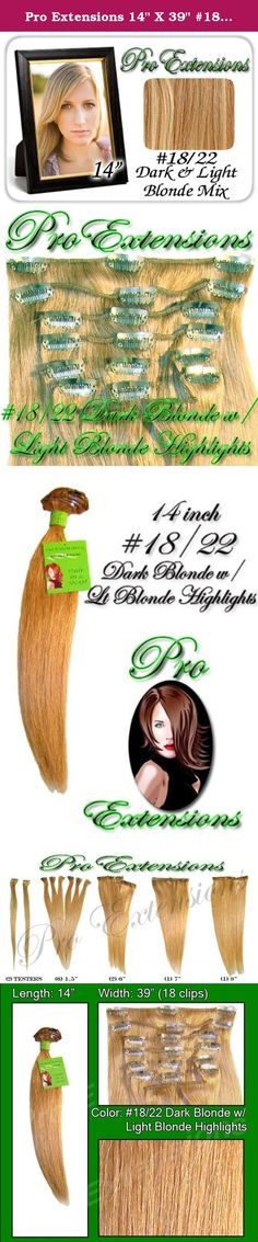 """Pro Extensions 14"""" X 39"""" #18/22 Dark Blonde with Light Blonde Highlights 100% Clip on in Human Hair Extensions. Increase hair length and fullness with this health and beauty accessory. Beautiful hair in seconds with these 100% clip-on human hair salon style wefts. Raquel Welch and Jessica Simpson inspired hairdo extensions. At last, women can have the hair styles of super stars and super models without spending hours at high priced hair specialists. Whether you need to add fullness to…"""