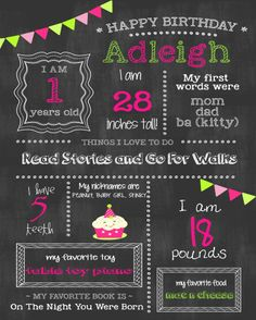 custom printable chalkboard first birthday sign board poster basic