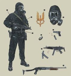 SAS 'black kit' and weaponry used in Iranian embassy Hostage rescue.