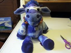 This is Mooberry, A tye dye cow, a special request for a fun purple cow birthday present.