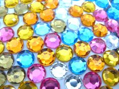 100x 8mm Multicolour Rhinestone Round Cabochons Jewel colours