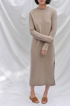 507994257c4 Mijeong Park Wholegarment Long Sweater Dress - Dark Beige