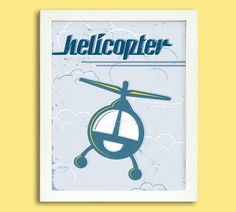 Retro Helicopter Poster  8 x 10 Digital  by Silver Lining Printing on Etsy
