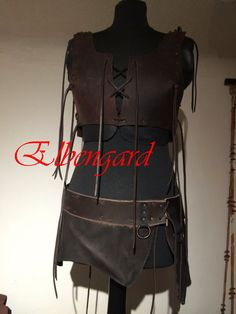 Blackbrown Leather Skirt Lagertha O-RingMedieval Larp von Elbengard