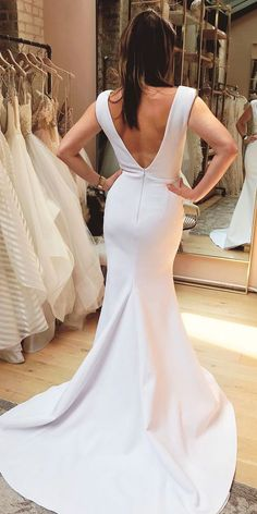 simple wedding dresses trumpet with straps low back one day bridal