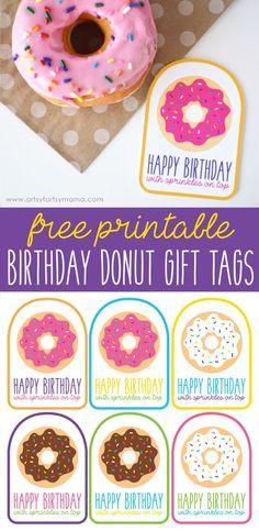 Download Free Printable Birthday Donut Gift Tags at artsyfartsymama.com