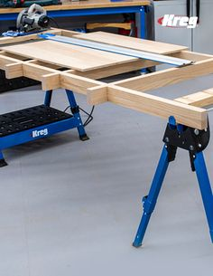Knock-Down Cutting Support Grid Fabric Cutting Table, Cutting Tables, Wood Cutting, Plasma Cutting, Kreg Jig Projects, Woodworking Projects Diy, Woodworking Jigs, Ikea Sewing Rooms, My Sewing Room