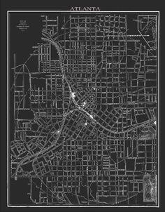 City of Atlanta Vintage Lithograph Map