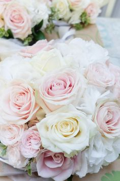 blush wedding bouquet - bouquet of Avalanche, Sweet Avalanche and bombastic roses with white hydrangea - Laurel Weddings