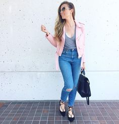 Zara pink faux leather jacket, ASOS mom jeans, brandy melville grey tee shirt, Steve Madden Eleanorr lace-up flats and Zac Posen Eartha tote. #HelloGorgeous