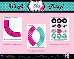 Grease 50s Poodle Skirt Cupcake Wraps and by MonicaAngelicaDesign, $10.00