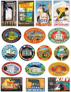 17 International Travel Clip Art - Vintage Luggage Labels -  Retro Digital Collage Sheet Download - Vintage Suitcase Stickers - 007 by graficaitalia on Etsy https://www.etsy.com/listing/209154900/17-international-travel-clip-art-vintage