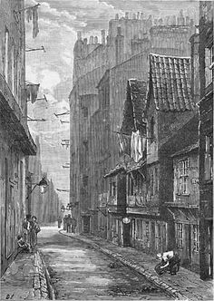 """Cowgate, 1890s.  """"Between the mid 18th and mid 20th centuries the Cowgate was a poor, often overcrowded slum area. In the 19th century it was home to much of the city's Irish immigrant community and nicknamed """"Little Ireland"""""""". Wikipedia."""
