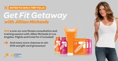 """""""Get Fit Giveaway with Jillian Michaels"""" Enter to win a trip to LA! WIN a one-on-one fitness consultation and training session with Jillian Michaels in Los Angeles. Flights and hotel for 2 included! Plus many more chances to win DVD and gift card giveaways!"""