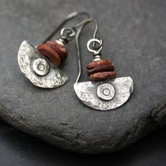 Bauxite and silver Ulu blade earrings by DeborahJonesJewelry on Etsy