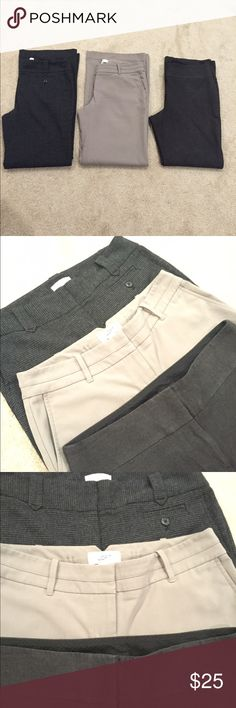 Ann Taylor Loft Dress Pants -Set of 3 Ann Taylor Loft dress slacks. Gently Used Condition Smoke/Pet free home. Sizes 4 & 8  Dark patterned (far left): trouser leg/size 4  Light beige: trouser leg/size 4  Dark (far right): Julie boot cut/size 8  Will separate for $13 each or all three for $25 Can bundle/switch with other pants on my closet. Ann Taylor Pants Trousers