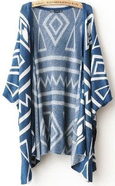 Geometric blue cardigan