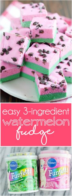 Super duper easy sweet vanilla fudge with chocolate chips. And, oh yeah! It looks like watermelon! Perfect for summer time :)