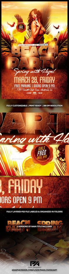 Beach Party/Spring Break Flyer Template - Events Flyers
