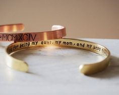 Thank you for being my aunt, my mom, and my best friend, best auntie jewelry, secret message bracelet Gold engraved bracelet adjustable, her Best gift idea for auntie! Any personalized orders are welcome here. I can custom any bracelets you want, you should check out and put your words in Note.