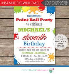 Paintball Party Invitation Template Free New Paintball Birthday Party Invitation Paintball Invitation Invitation Fonts, Printable Invitations, Party Printables, Paintball Birthday Party, Ball Birthday Parties, 12th Birthday, Happy Birthday Invitation Card, Birthday Decorations, Birthday Ideas