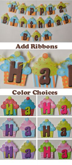 Cupcake Birthday Party Banner - Custom Name and Age #birthday #party #cupcake #banner