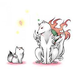 Okami Amaterasu, Oki and pups. by でんみつ | Arts | Pinterest ...