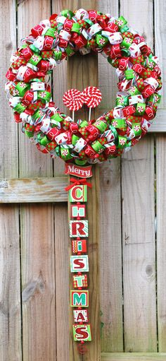 Candy Cane Christmas Ribbon Wreath by FairyMojo on Etsy Christmas Ribbon, A Christmas Story, All Things Christmas, Christmas Holidays, Merry Christmas, Wreath Crafts, Diy Wreath, Holiday Crafts, Wreath Ideas