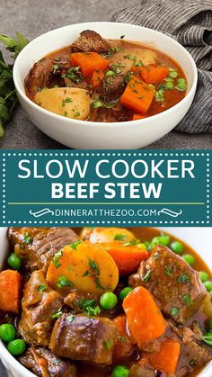 Slow Cooker Beef Stew Slow cooker beef stew is tender chunks of meat with potatoes and vegetables in a savory broth. Pork Stew Meat, Easy Beef Stew, Stew Meat Recipes, Slowcooker Beef Stew, Slow Cooker Beef, Slow Cooker Recipes, Crockpot Recipes, Cooking Recipes, Slow Cooker Casserole
