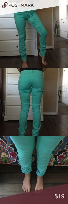 Teal skinny lily jeans These are really good quality and super cute but I never found myself wearing them since it's so hot where i live and they've NEVER BEEN WORN besides for the pictures Hot Kiss Jeans Skinny