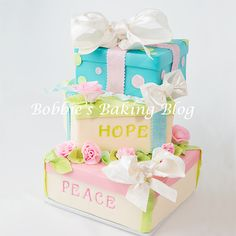 Gift Box Cake Filled with Peace and Hope - May 2013 be a calm peaceful year!