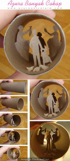 Creative Use of a Paperoll - These creative art pieces made from toilet paper rolls. Cool isn't it? Let's try to do it at home. Try to invent something that looks beautiful & useful. Have fun & be creative! Here is a silhouette craft made into a three dimensional model.