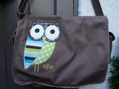 Large Raw Edge Messenger or Diaper Bag with Applique Owl