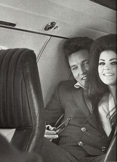 Elvis and Priscilla on the jet headed for Palm Springs, CA.