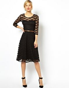 9858f4386323 ASOS Midi Skater Dress In Lace With 3/4 Sleeves And Belt at asos.com