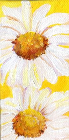 White Shasta Daisy Painting on Yellow Original on canvas, mini easel, acrylic painting, daisy mini canvas, daisy mini painting