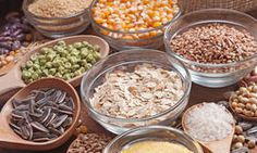 Healthy grains: oatmeal, millet, wheat berries.