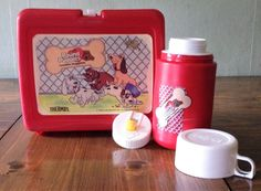 Vintage Pound Puppies Red Lunch Box and Thermos 1986 80s Retro Drink Cup Kit by Piklandia on Etsy