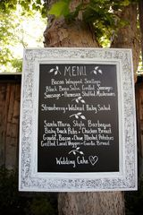 wedding menu made from framed mirror with chalk board paint