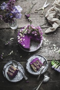 Earl Grey Lemon cake with Purple potatoes and White Chocolate Frosting.