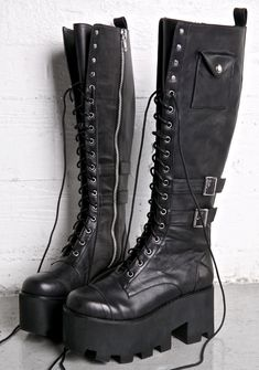 Current Mood Jane Doe Boots feature a sleek matte black vegan leather construction, rounded toe, buckled details thick cutout treaded soles, small snap pockets on the sides. Lace Up Boots, Black Boots, Leather Boots, Cutout Boots, Knee High Boots, Over The Knee Boots, Tall Boots, Cute Shoes, Me Too Shoes