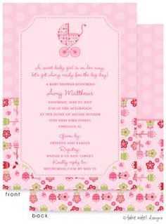 Invite family and friends to the baby shower with this pink and flower bordered invitation. All fonts and wordings can be customized.