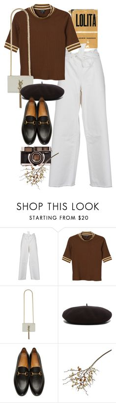 """Untitled #10467"" by nikka-phillips ❤ liked on Polyvore featuring Each X Other, Monki, Yves Saint Laurent, Gucci and Crate and Barrel"