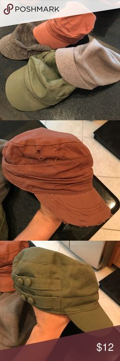 Newsboy caps bundle 4 newsboy style caps. All used. Great condition. May have some makeup along inside visor (not visible while wearing). Otherwise excellent 💕 Accessories Hats