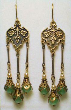 Art Nouveau Art Deco Style Green Jade with Vintage Pearls Flower Drop Earrings | eBay