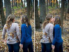 Lesbian LGBT gay engagement photos fall leaves autumn milwaukee photographer
