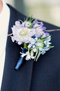Blue Purple Boutonniere Garden Spring Summer Wedding Flowers for the groomsmen!