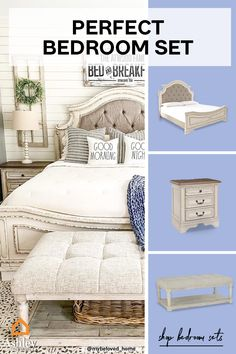 Why buy one item, when you can have the whole set? Find the #bedroom set you've been searching for, or mix and match to create your own unique look! Room Ideas Bedroom, Bedroom Sets, Girls Bedroom, Bedding Sets, Master Bedroom, Bedrooms, Bedroom Decor, Dreams Beds, Whitewash Wood